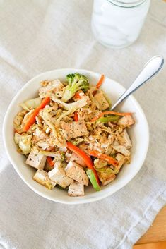 Tofu Veggie Noodle Bowl with Cabbage Noodles #glutenfree #vegan