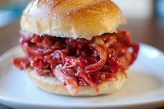 Pulled turkey with cranberry BBQ sauce.