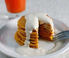 Carrot Pancakes with Maple Cashew Cream, we'd love to wake up next to you.