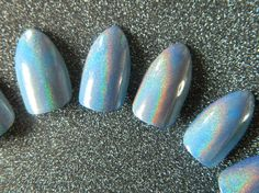 Blue Holographic false Nails. by OutOfTheCanon on Etsy