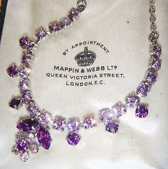 SWEET VINTAGE 50s GLAMOUR AMETHYST RHINESTONE CRYSTAL GLASS DROP NECKLACE