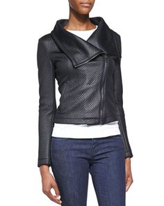 Coated Quilted Moto Jacket