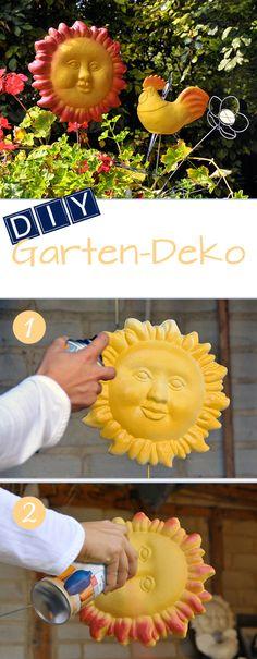 DIY Garten-Deko: Günstig und schnell dekoriert mit Styropor-Formen und Sprühlack. // DIY Garden-decoration: Fast and cost effective decoration with styrofoam shapes and spray paint.