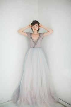 Lace Wedding Gown Lavanda Ivory Tulle Dress V Neck Bridal Cup Sleeved Modest Classic