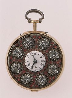 "1770 British Automaton watch at the Metropolitan Museum of Art, New York - From the curators' comments: ""When activated, the eight rosettes, or stars, spin within the rotating frame on the dial of this watch, which is pavé-set with paste jewels. A number of these automata survive; they were incorporated into objects probably intended for export to both China and India, but they may also have been made for English patrons."""