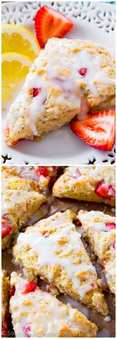 Strawberry Lemon Poppy Seed Scones - perfectly moist, soft interior, flaky crust, with tons of lemon and strawberry flavor!