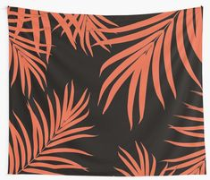 """Palm Leaves Pattern Orange Vibes #1 #tropical #decor #art"" Wall Tapestries by anitabellajantz 