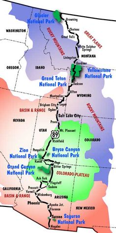 Following Is Our Planned Trip To National Parks National - Us route 89 map