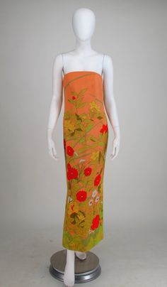 1968 Hanae Mori floral silk strapless gown | From a collection of rare vintage evening dresses at https://www.1stdibs.com/fashion/clothing/evening-dresses/