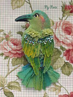Julia Sevastyanova - Medosos brooch (from Birds of Paradise series)  http://www.livemaster.ru/fly-fenix