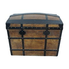 Wood and Metal Domed Vintage Travel Trunk