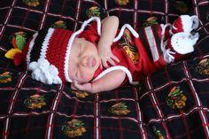 BABY HOCKEY HAT & Skates Chicago Blackhawks paci not included, Crochet Baby Hockey, hockey by Grandmabilt on Etsy