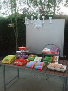 Ideas for hosting an outdoor movie-themed party! So cute.