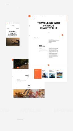 Solncetur on Behance Website Design Layout, Book Design Layout, Web Layout, Page Design, Website Designs, Website Design Inspiration, Layout Inspiration, Design Ideas, Presentation Layout