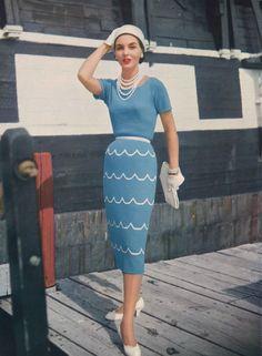 9662506d0a Clapotis • 1950s Knitting Dress Shirtdress • 50s Vintage Engagement Vogue  Pattern • Retro Women s Knit Digital PDF
