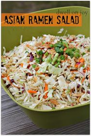 Asian Ramen Salad {Makes about 12 servings} You will need: 2 bags of coleslaw mix 3 packages of Chicken Ramen Noodles - set the seasoning packets aside 3 green onions, diced 1 cups slivered almonds (or whatever close amount you can find) 1 st Asian Ramen Salad, Ramen Coleslaw, Coleslaw Mix, Asian Coleslaw, Asian Cabbage Salad, Chinese Coleslaw, Asian Slaw, Napa Cabbage, Chinese Cabbage
