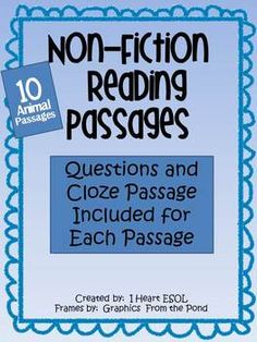 This file contains 10 non-fiction reading passages along with reading comprehension questions and a cloze passage for each passage.    This file includes passages about the following animals: Reindeer Zebras Seals Ladybugs Whales Bats Penguins Koalas Polar Bears Giraffes  Use the passages and questions for independent work, in small groups, as morning work, or for homework.