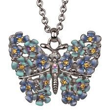 Kirks Folly Forget Me Not Butterfly Necklace (Silvertone)