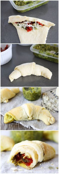 Pesto, Roasted Red Pepper, and Cheese Crescent Rolls Recipe on twopeasandtheirpod.com A great appetizer for any holiday party!