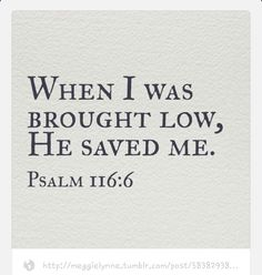 HE SAVED ME!   The LORD protects those of childlike faith; I was facing death, and he saved me (Psalm 116:6).