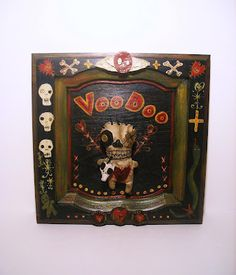 Junker Jane Art Dolls And Miniatures: NEW! Original Voodoo Wall Art w/ voodoo doll