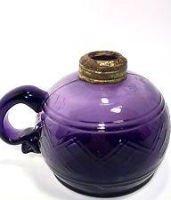 Amethyst Purple Oil Lamp Genuine Finger Lamp Authentic Late 1800's Weave Pattern