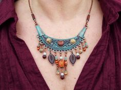 Bohemian Necklace  Copper Bib with Cabochon gemstones by Angelof2, $45.00