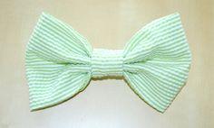 Green Seersucker Hair Bow by Hannah Ariel