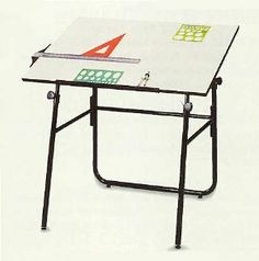 """Ultima Fold-A-Way Drafting Table . $189.00. The Ultima Fold-A-Way Drafting Table has an ample 30"""" x 42"""" work surface; a Shure Clamp height and angle adjustment system ensure your custom fit with a rear support bar for stability. Also features a slide up pencil edge to keep tools in their place. As shown in the inset, the Ultima Table easily and instantly folds flat for convenient storage. Top is white melamine. Easy assembly. 32""""-46-1/2""""H; maximum tilt 30"""". Shpg. wt. 55 lbs...."""