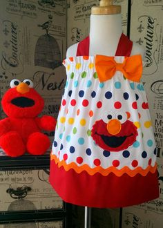 Hey, I found this really awesome Etsy listing at https://www.etsy.com/listing/198921294/sesame-street-elmo-dress-elmo-birthday