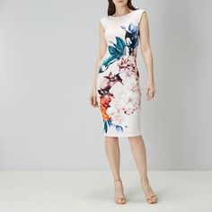 Coast Floral Party Dress Printed Scuba  Sahara Cocktail Occasion Pencil 6 To 18 #Coast #PencilDress #PartyCocktail
