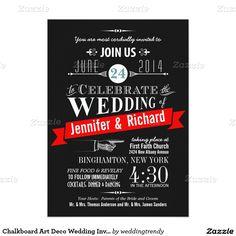 "Chalkboard Art Deco Wedding Invitations 5"" X 7"" Invitation Card"