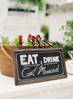 Eat, drink, and get married wedding sign: http://www.stylemepretty.com/2016/10/05/bohemian-backyard-wedding-in-florida/ Photography: Kati Rosado - http://www.katirosado.com/