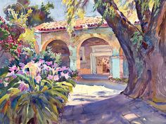 The Old Pepper Tree, San Juan Capistrano, art by Glen Knowles – California Watercolor Watercolor City, Arches Watercolor Paper, Watercolor Images, Watercolor Artwork, Watercolor Landscape, City Painting, Garden Painting, Painting Art, Mission San Juan Capistrano