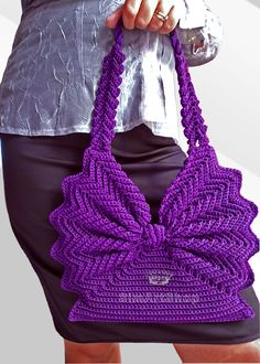 """New Cheap Bags. The location where building and construction meets style, beaded crochet is the act of using beads to decorate crocheted products. """"Crochet"""" is derived fro Crochet Shell Stitch, Crochet Tote, Crochet Handbags, Crochet Purses, Bead Crochet, Free Crochet, Purse Patterns, Crochet Patterns, Butterfly Bags"""