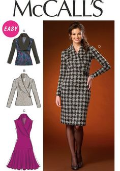 7cc6bd4bc84 McCall s Misses  Shawl Collar Tops and Dresses (LRG-XLG-XXL) patterns for  semi fitted pullover tops and dresses with shawl collar and sleeve  variations.