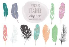 free feather clip art from the beautiful Angie Makes. Other beautiful watercolor and clipart images available at an affordable price in. Blog Design, Web Design, Graphic Design, Feather Clip Art, Feather Crafts, Illustrator, Free Graphics, Design Elements, Arrows