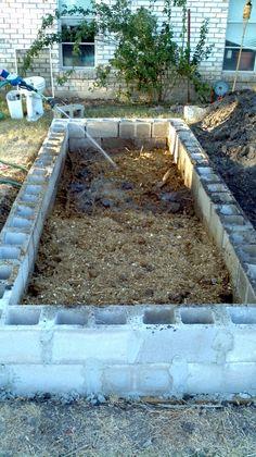 cinder block raised bed garden... Hmmmm. Cinder blocks can't rot like wood...