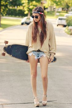want this hair. the sweater. even the headband and the longboard. the shorts? not so much.