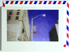 City streets.  Polaroid shot in Detroit, USA. Each notecard is 3.5 x 4.9, printed on crisp, white 14 pt. stock and tucked into a nostalgic airmail envelope.