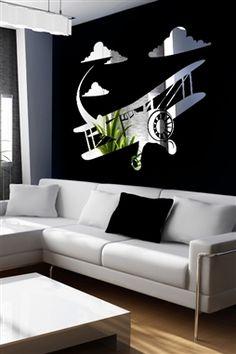 Wall Decals  Airplane Mirror -Reflective Decals