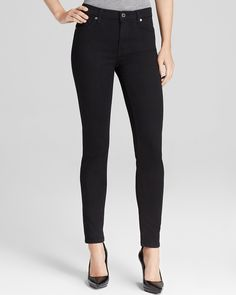 """7 For All Mankind The Slim Illusion Luxe High Waist Skinny in Black 10"""" front rise $189 at bloomingdales"""