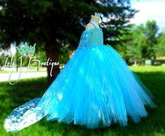 Frozen Tutu Dress SET - ALL GIRLS Sizes - Baby 6 12 18 24 Child 1 2 3 4 5 6 7 8 10 12 Removable Cape Elsa Aqua Teal Glitter Disney Princess...