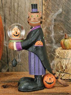 Cat Holding Pumpkin Water Globe - Halloween Folk Art & Collectibles – Williraye Studio $40.00