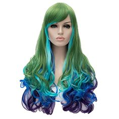 Halloween Wig. Cosplay Wig Neat Bangs Long Curly Hair Costume Party Wigs Multi-Color