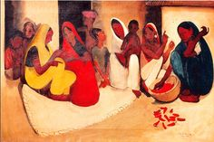 Village Scene Artist: Amrita Sher-Gil Completion Date: 1938 Style: Post-Impressionism Genre: genre painting