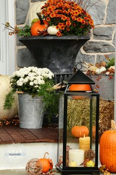 Welcome to the… FALL PORCH TOUR This year' porch is a celebration of fall's glorious colors! Pumpkins galore and so much more. Come and join me on the porch… This fall's porch decor is colorful, asymmetrical and has a windswept look… It looks like fall blew in and spilled down my front steps! Each side …