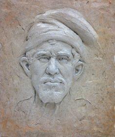 portrait of a man, patinated aluminum relief sculpture