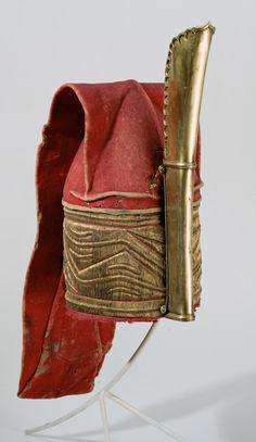 Turkish headdress, felt, gold embroidery, gilded brass, ca 1550, Kunsthistorisches Museum Vienna