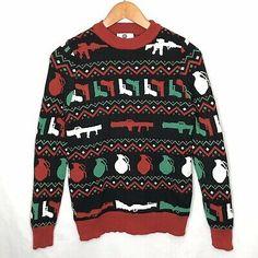 Guns Grenades Rocket Launchers Ugly Christmas Sweater S Small Tools Of The Trade I Love Ugly, Ugly Men, Grenades, Vintage Hawaiian Shirts, Aloha Shirt, Funny Sweatshirts, Concert Tees, Holiday Fashion, Ugly Christmas Sweater